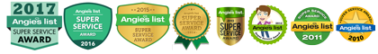 Columbia Electric Service Angie's List Super Service Award 2017, 2016, 2015, 2014, 2013, 2012, 2011, 2010